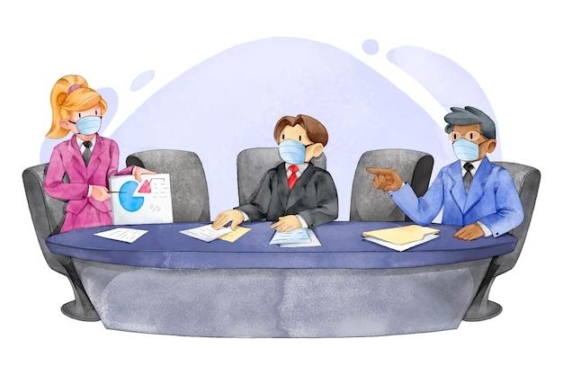 Ilustrowana koncepcja dystansu społecznego na spotkaniu