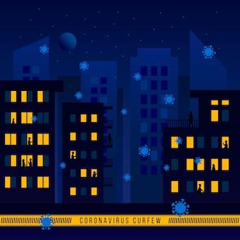 Ilustrowana koncepcja godziny policyjnej koronawirusa z pustym miastem w nocy