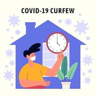 Ilustrowana koncepcja godziny policyjnej koronawirusa