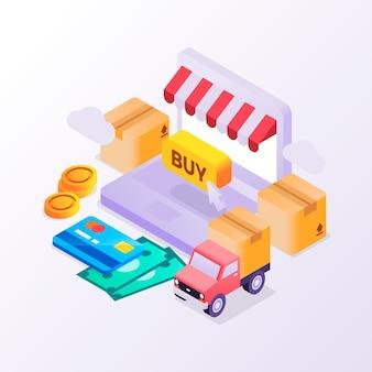 Ilustrowana koncepcja izometrycznego e-commerce