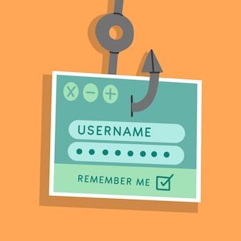 Ilustrowana koncepcja konta phishingowego