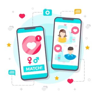 Ilustrowana koncepcja kreatywnej aplikacji randkowej