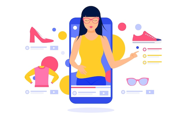 Ilustrowana koncepcja przeglądu blogerów
