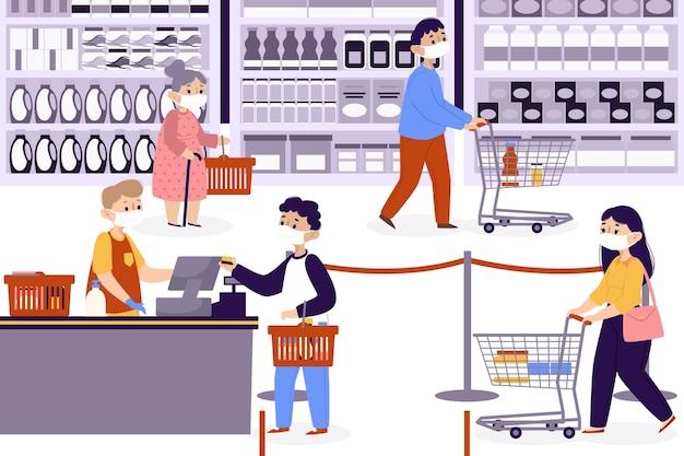 Ilustrowana koncepcja supermarketu koronawirusowego