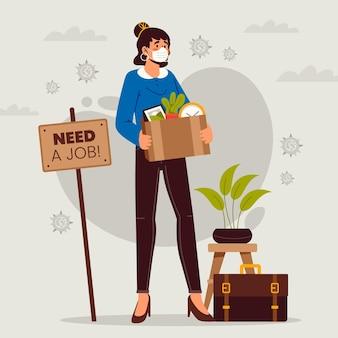 Ilustrowana koncepcja utraty pracy z powodu kryzysu wirusowego