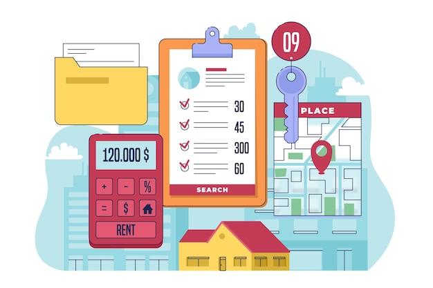 Ilustrowana koncepcja wyszukiwania nieruchomości