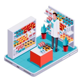 Ilustrowana kreatywna apteka izometryczna