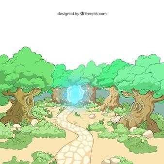 Ilustrowana las z niebieskim światłem