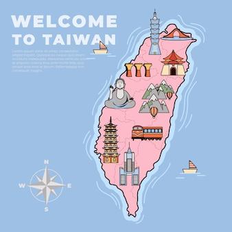 Ilustrowana mapa tajwanu z różnymi zabytkami