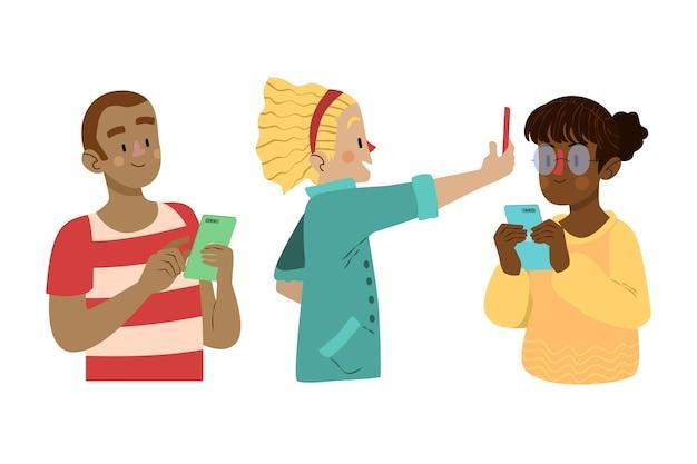 Ilustrowana młodzież korzystająca ze smartfonów