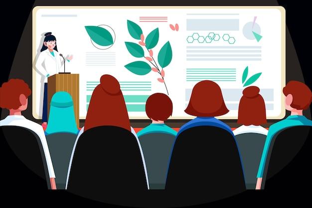 Ilustrowana płaska konferencja medyczna