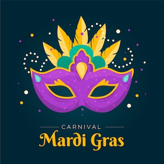 Ilustrowana płaska maska mardi gras