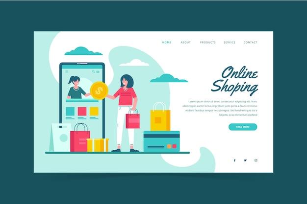 Ilustrowana płaska strona zakupy online - strona docelowa