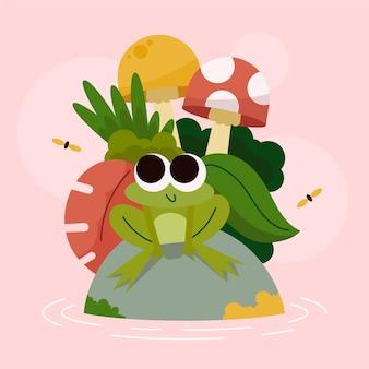 Ilustrowana płaska żaba