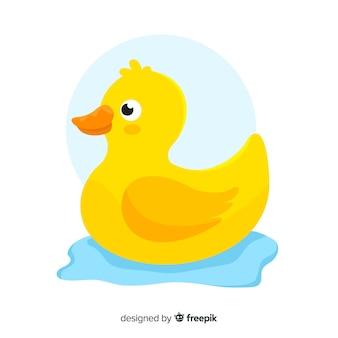 Ilustrowana płaska żółta gumowa kaczka