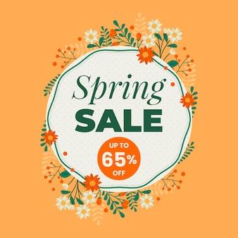 Ilustrowana promocja płaskiej wiosennej sprzedaży