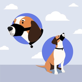 Ilustrowana rasa psa z pyskiem