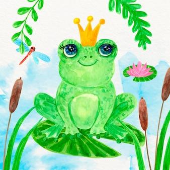 Ilustrowana ręcznie malowana żaba