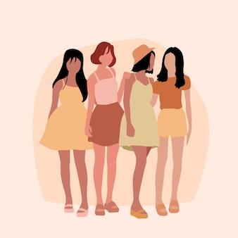 Ilustrowana ręcznie rysowane grupa kobiet