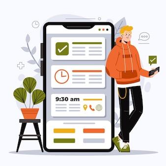 Ilustrowana rezerwacja spotkania za pomocą smartfona
