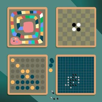 Ilustrowana różnorodna kolekcja gier planszowych