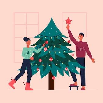 Ilustrowana scena przedstawiająca ludzi dekorujących drzewo