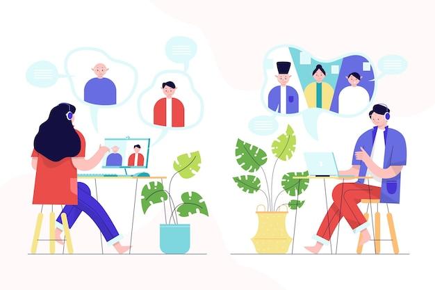 Ilustrowana scena wideokonferencyjna z przyjaciółmi