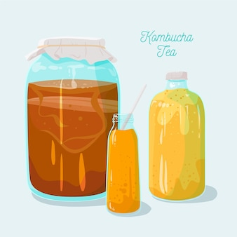 Ilustrowana słodka herbata z kombuchy