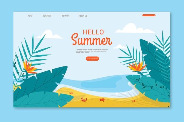 Ilustrowana strona docelowa cześć lato