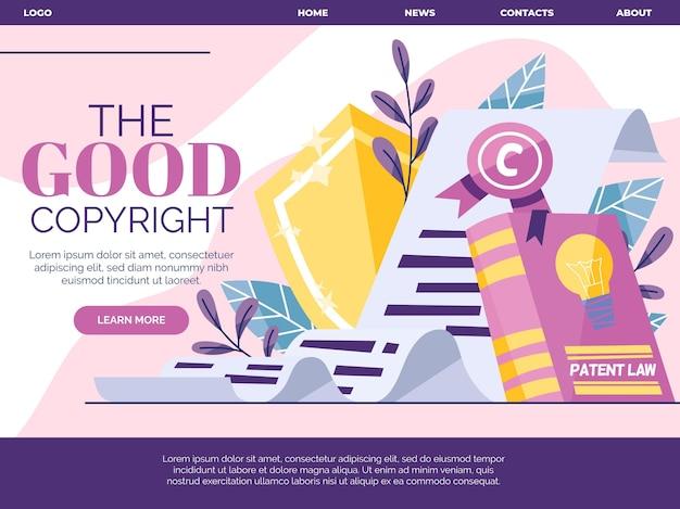 Ilustrowana strona docelowa dotycząca praw autorskich