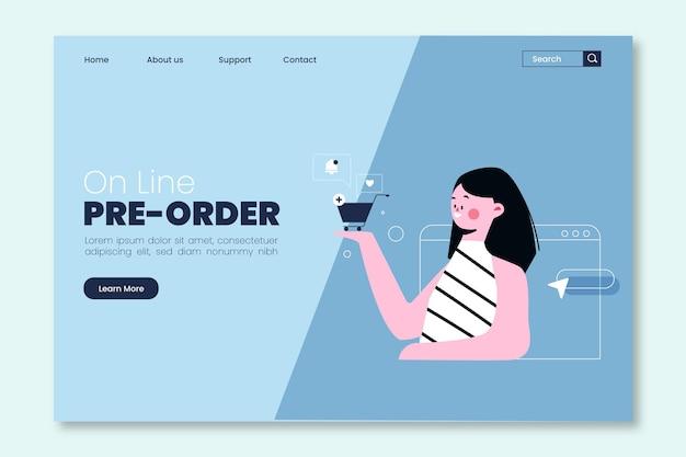 Ilustrowana strona docelowa dotycząca zamówienia w przedsprzedaży