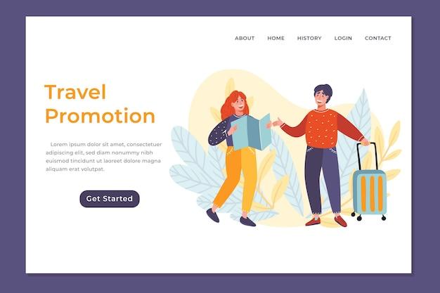 Ilustrowana strona internetowa sprzedaży podróży
