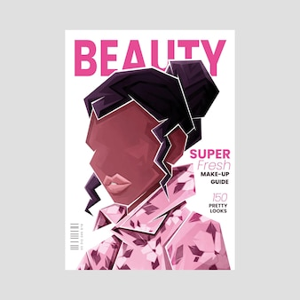 Ilustrowana szczegółowa okładka magazynu o urodzie