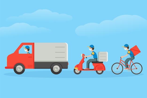 Ilustrowana usługa dostawy z koncepcją masek