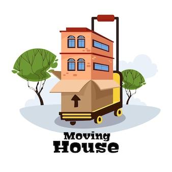 Ilustrowana usługa przeprowadzek domów