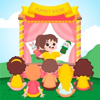 Ilustrowane Dzieci Oglądające Przedstawienie Kukiełkowe Darmowych Wektorów