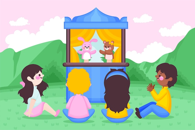 Ilustrowane dzieci oglądające przedstawienie kukiełkowe