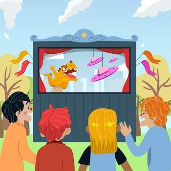 Ilustrowane dzieciaki oglądające uroczy pokaz lalek
