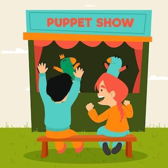 Ilustrowane ekologiczne płaskie dzieci oglądające przedstawienie kukiełkowe