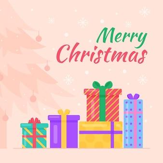 Ilustrowane kolorowe prezenty świąteczne