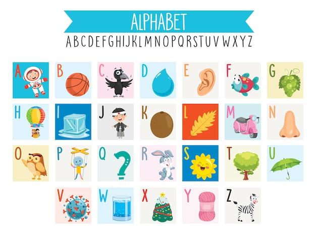 Ilustrowane litery alfabetu i obiekty z kreskówek