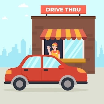 Ilustrowane okno drive thru