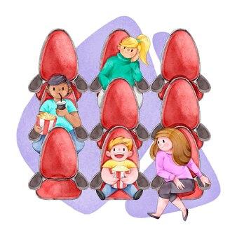 Ilustrowane osoby ćwiczące dystans społeczny w kinach