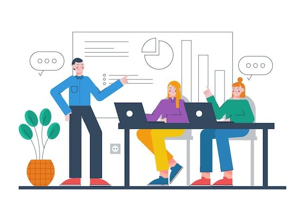 Ilustrowane osoby na szkoleniach biznesowych