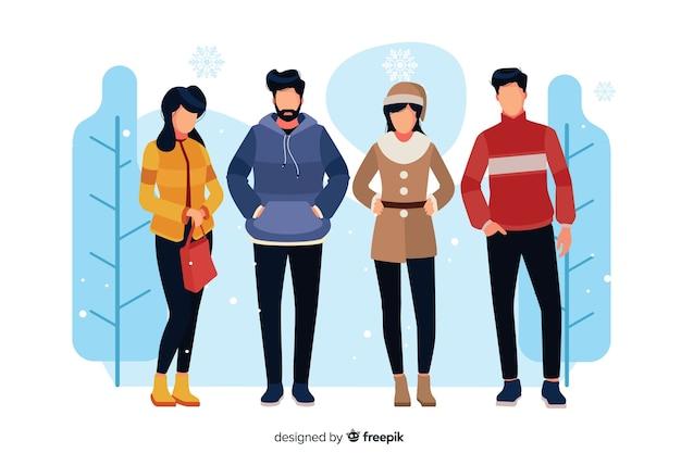Ilustrowane osoby noszące zimowe ubrania