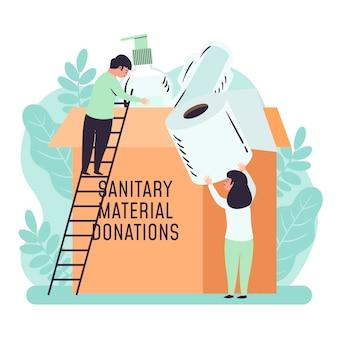 Ilustrowane osoby przekazujące materiały sanitarne