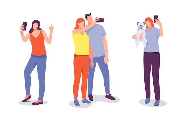 Ilustrowane osoby robiące zdjęcia smartfonem
