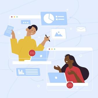 Ilustrowane osoby rozmawiające online