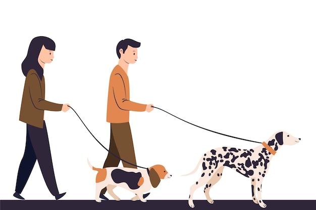 Ilustrowane osoby spacerujące z psem
