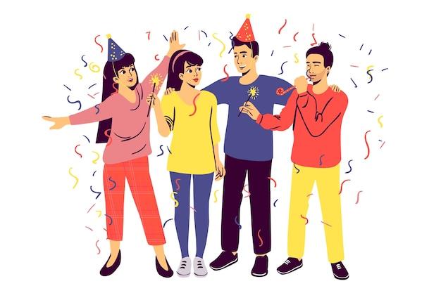 Ilustrowane osoby świętujące razem